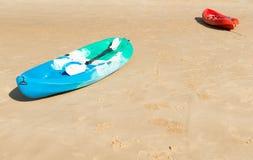 Kayaks on beach Royalty Free Stock Photos