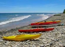 Kayaks  on Beach Georgian Bay Canada Royalty Free Stock Photography