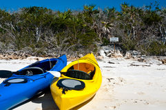 Kayaks on a beach Stock Photo