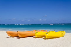 Kayaks on the beautiful sandy beach Stock Photos