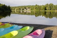 Kayaks and Canoes Royalty Free Stock Images