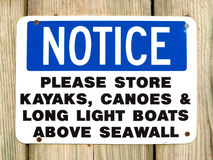 Kayaks and canoes notice sign at Northport Maine Stock Photo
