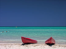 Kayaks on Caribbean Sea Stock Photo