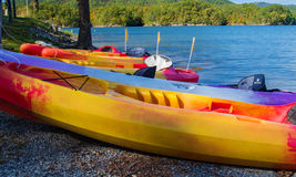 Kayaks at Carvins Cove Reservoir, Roanoke, Virginia, USA. Kayaks line-up next to Carvins Cover reservoir at Carvins Cove Natual Reserve located in Roanoke Stock Photos