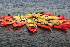 Kayaks close to each other royalty free stock photography