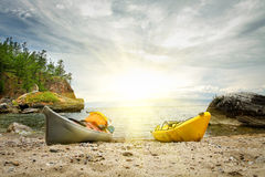 Kayaks on the coast of the lake Baikal. Stock Image