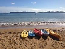 Kayaks colorés dans Paihia, baie des îles, NZ Photos libres de droits