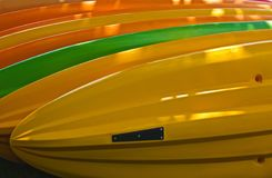 Kayaks colorful Stock Photo