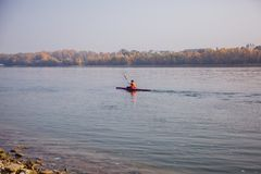 Kayaks on the Danube in Budapest, Hungary stock photography