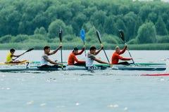 Kayaks de concurrence Photo libre de droits