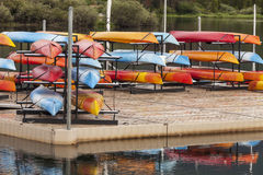 Kayaks on a dock Royalty Free Stock Image