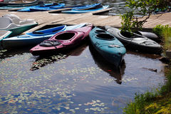 Kayaks at Dock Stock Image
