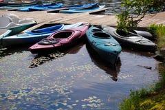 Kayaks at Dock Stock Image