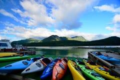 Kayaks on dock Royalty Free Stock Photo