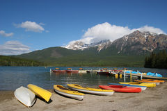 Kayaks at dock in Pyramid lake Stock Photo