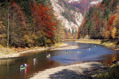 Kayaks on the Dunajec river in Pieniny Mountains in Poland Royalty Free Stock Photos