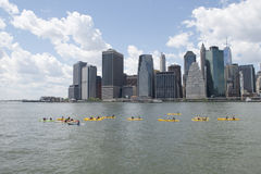 Kayaks on East River Royalty Free Stock Photo
