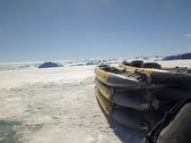 Kayaks on fast ice, Gustaf Sound, Antarctica Stock Photography