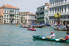Kayaks on the Grand Canal, Venice Royalty Free Stock Image