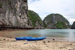 Kayaks in ha long bay Royalty Free Stock Photography