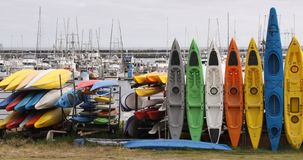 Kayaks at Half Moon Bay, California Stock Photo