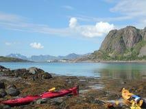 Kayaks of Henningsvar in Lofoten Stock Image