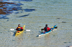 Kayaks jaunes et blancs en mer, île Hitra Photos stock