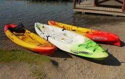 Kayaks Lake Shore Royalty Free Stock Images
