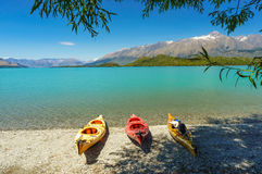 Kayaks on the Lake Wakatipu, Glenorchy. New Zealand stock photos