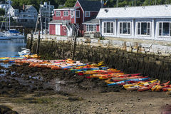 Kayaks at Low Tide. This is a row of Kayaks waiting to be rented when High Tide returns Stock Photography