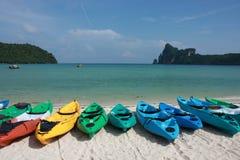 Kayaks. Many kayaks on the beach at Pi Pi island Stock Photography