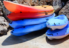 Kayaks in marina Royalty Free Stock Image