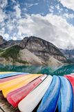 Kayaks on Moraine Lake in the Canadian Rockies Stock Photo