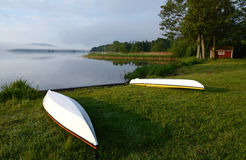 Kayaks in morning light Stock Photography