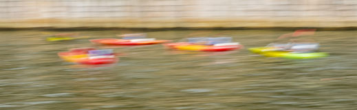 Kayaks in motion Royalty Free Stock Photos