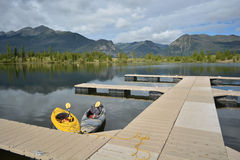 Kayaks At Mountain Dock Stock Image