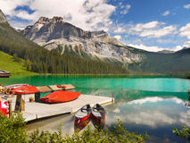Kayaks, Mountains, Emerald Lake, Stock Photos