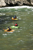 Kayaks in the Noguera Pallaresa river Royalty Free Stock Photos