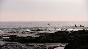 Kayaks And Paddle Board Coming Into Shore Big Island Hawaii stock video footage