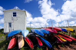 Kayaks, Prince Edward Island, Canada. Colorful kayaks in North Rustico, Prince Edward Island Stock Photos