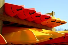 Kayaks on a Rack Stock Images