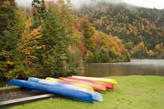 Kayaks in rain Royalty Free Stock Images