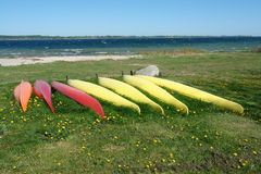 Kayaks ready to sail - sea sport background Stock Photo