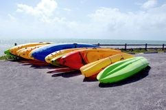 Kayaks for rent Royalty Free Stock Images
