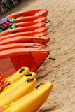 Kayaks for rent Stock Images