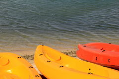 Kayaks for rent Royalty Free Stock Photos