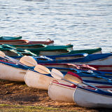 Kayaks on the river bank Royalty Free Stock Images