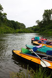 Kayaks. On the river bank in water trips Stock Photography