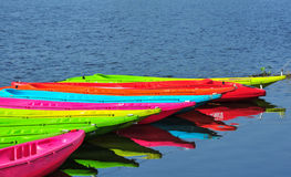 Kayaks in river. Colorful plastic boat Royalty Free Stock Image