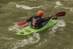 Kayaks on river Dunajec with male Royalty Free Stock Images